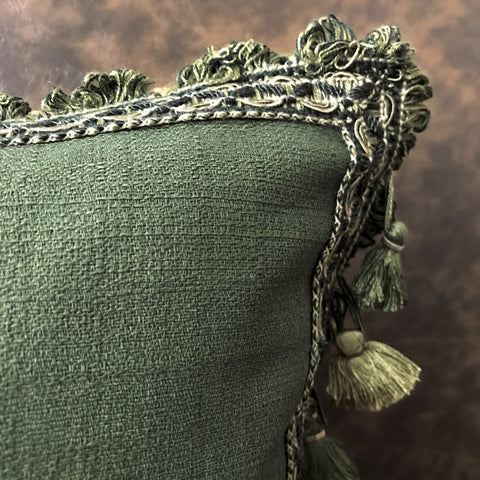 "Boho Forest Green Solid Tassel Trim Lumbar Pillow Cover 13""x22"""