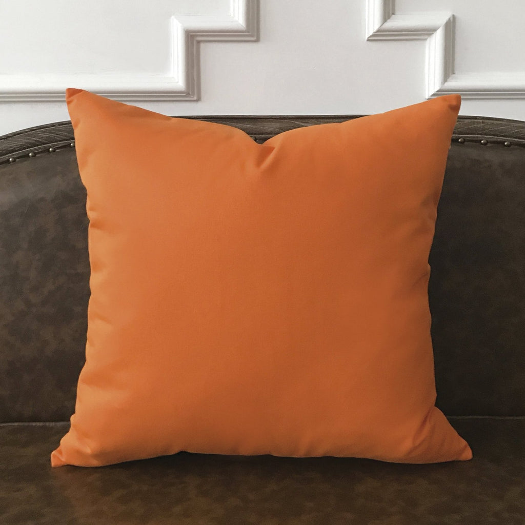 "True Orange Solid Throw Pillow Cover 22""x22"""