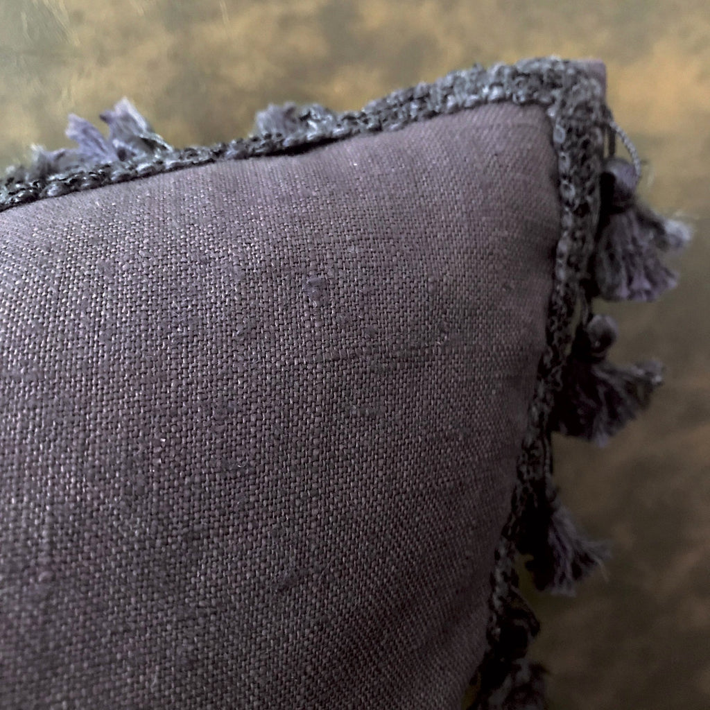 "Boho Purple Solid Lumbar Tassel Decorative Pillow Cover 13""x22"""