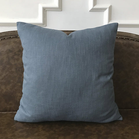 "Smoky Blue Solid Throw Pillow Cover 22""x22"""