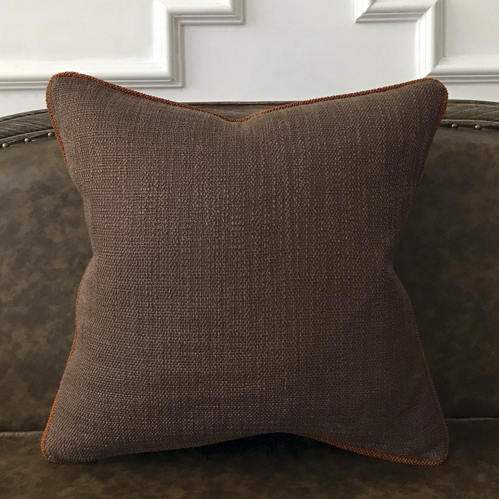 "Mocha Brown Textured Solid Throw Pillow Cover 20""x20"""