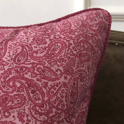 "Hot Pink Paisley Cord Edge Throw Pillow Cover 22""x22"""
