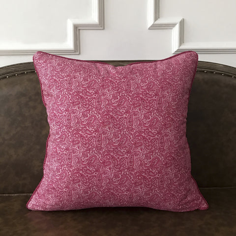 "Hot Pink Paisley Throw Pillow Cover 22""x22"""
