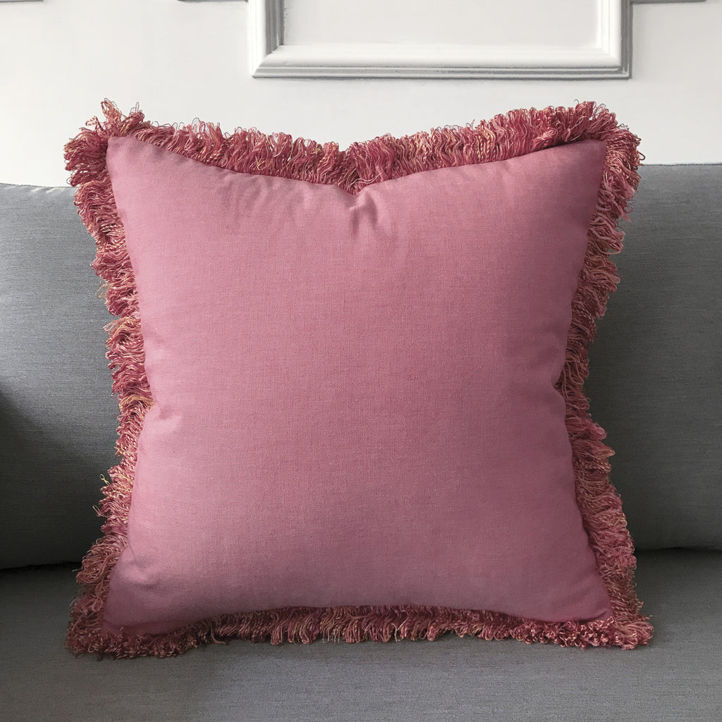 "Boho Rose Pink Solid Throw Pillow Cover with Fringe 18""x18"""
