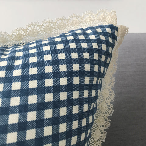 "Shabby Chic Blue Gingham Throw Pillow Cover with Lace 18""x18"""