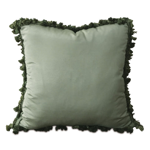 "Boho Pale Green Solid Throw Pillow Cover with Tassel Trim 20""x20"""