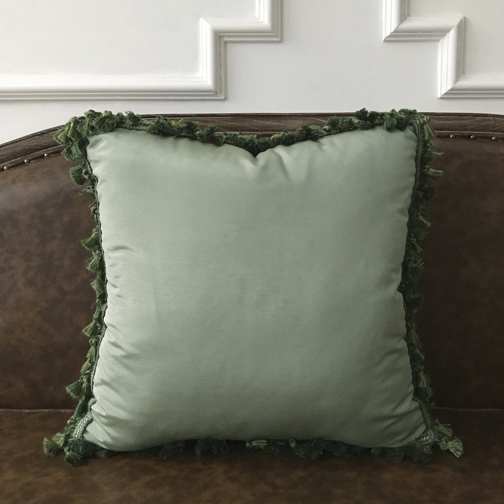 Boho Pale Green Solid Throw Pillow Cover With Tassel Trim 20 X20 Plankroad Home Outlet