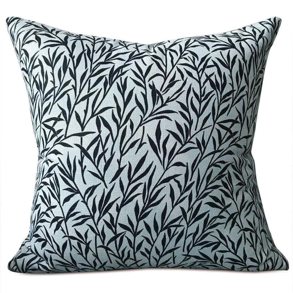 "Blue Coastal Botanical Woven Leaves Throw Pillow Cover 18""x18"""
