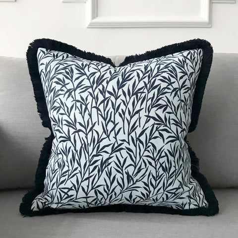 "Indigo Coastal Style Botanical Leaves Throw Pillow Cover 18""x18"""