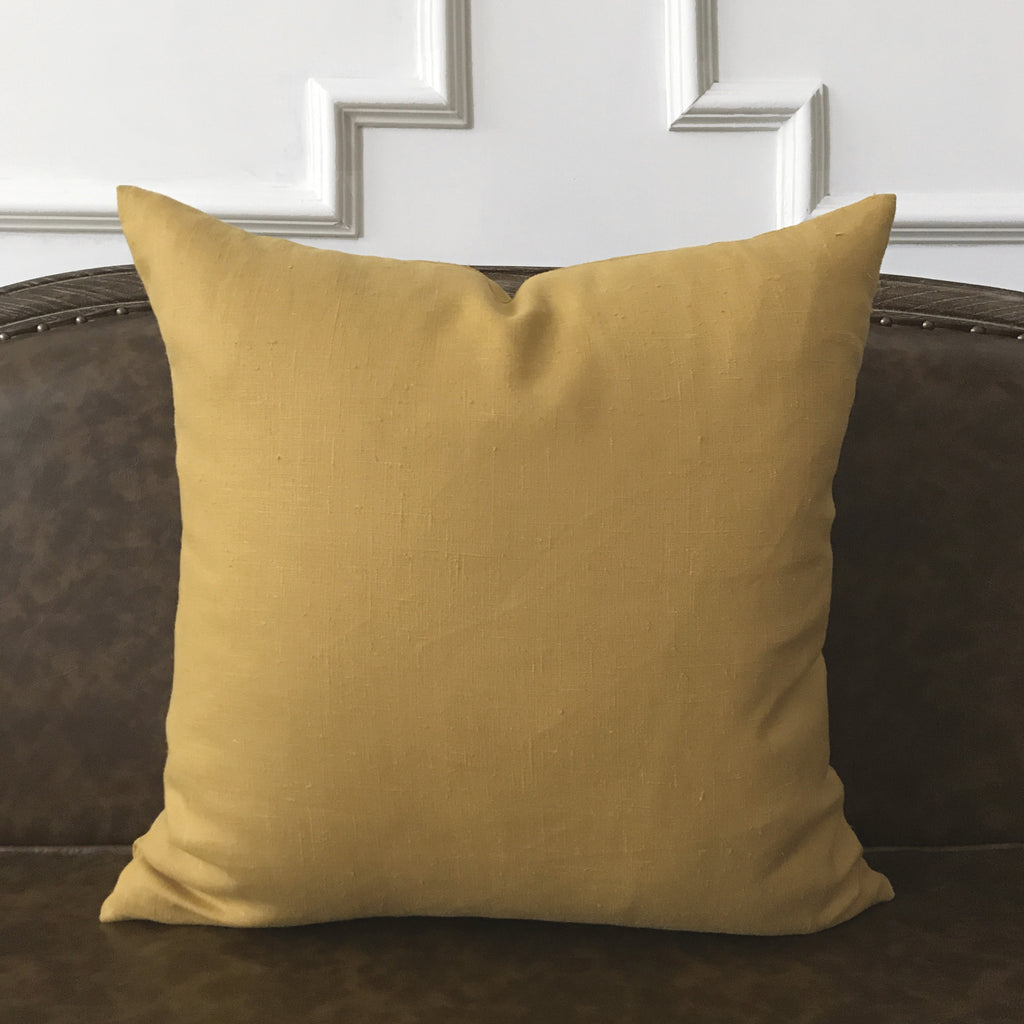 "Mustard Solid Throw Pillow Cover 22""x22"""