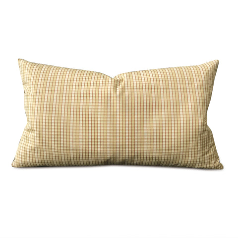 "Yellow Woven English Check Lumbar Pillow Cover 15""x26 """