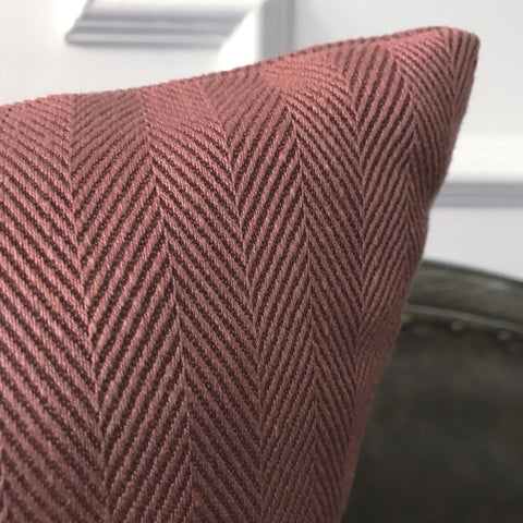 "Dusty Rose Herringbone Woven Large Decorative Pillow Cover 26""x26"""