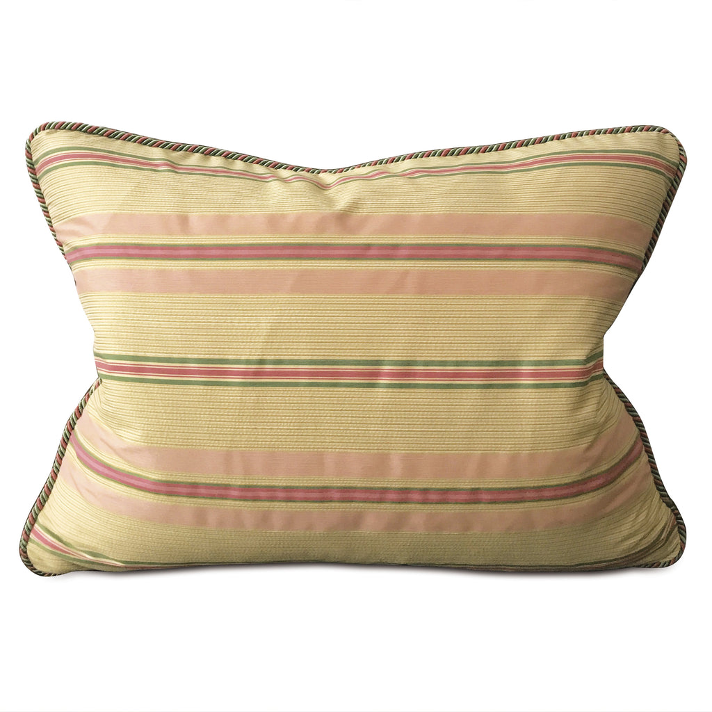 "Pastel Spring Pink and Green English Stripe Standard Sham 20""x27"""