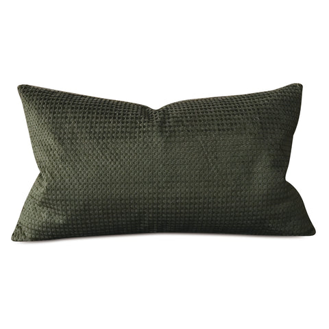 "Forest Green Woven Textured Lumbar Pillow Cover 15""x26"""