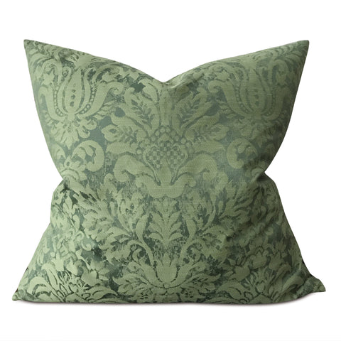 "Green Woven Royal Damask Large Decorative Pillow Cover 26""x26"""