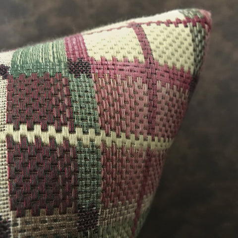 "Multicolored Plaid Lumbar Pillow Cover 15""x26"""