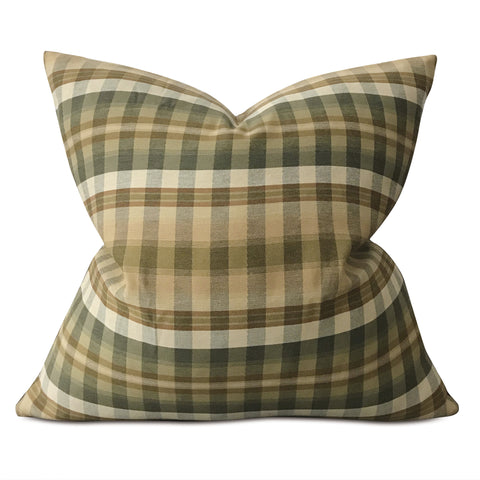 "Earth Tone Woven Plaid Large Decorative Pillow Cover 26""x26"""