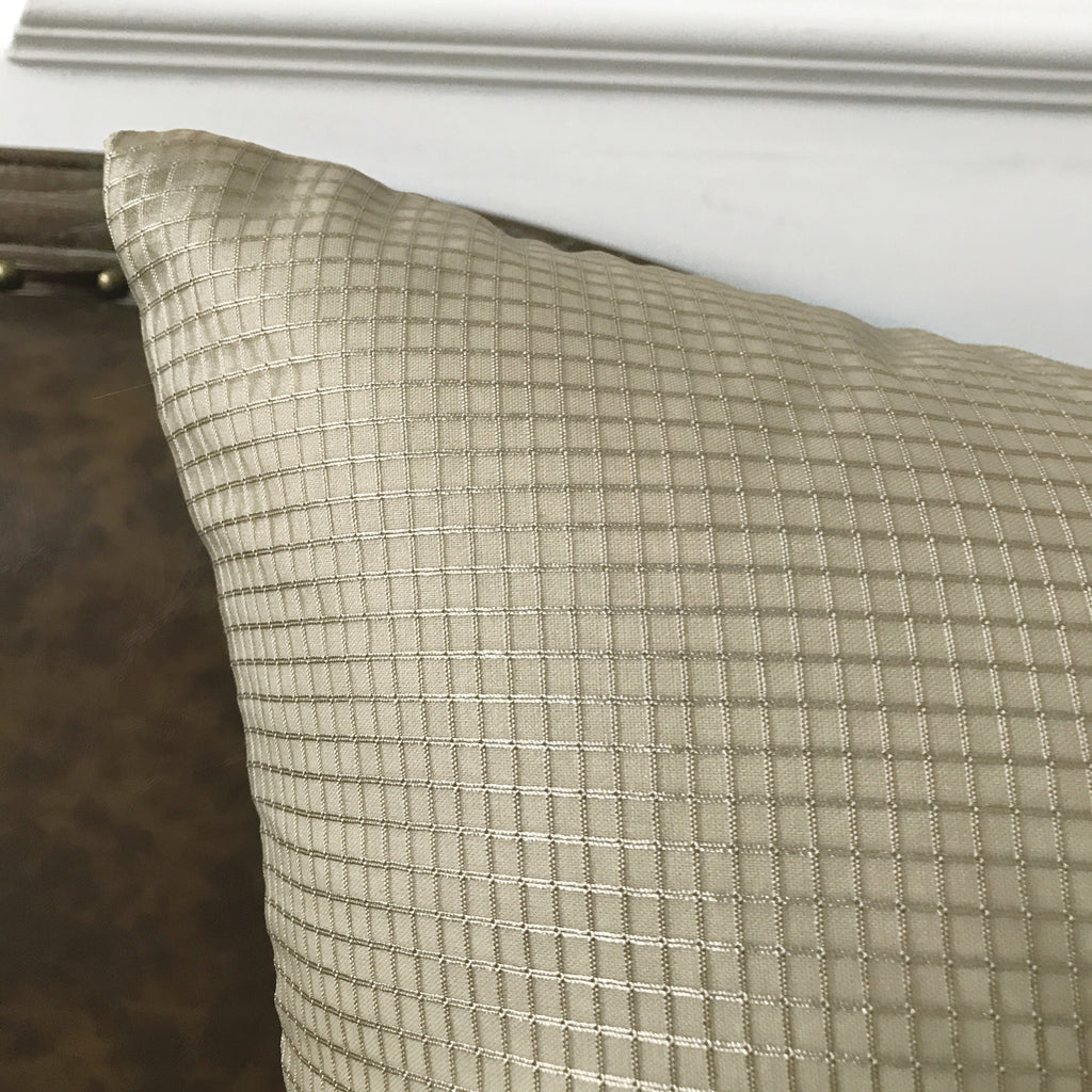 "Metallic Taupe Textured Check Throw Pillow Cover 22""x22"""