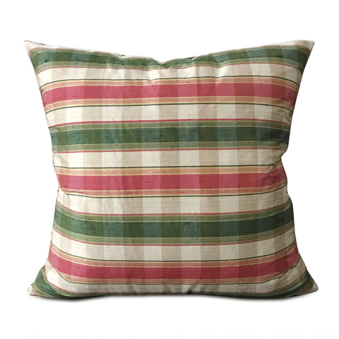 "Green and Red Plaid Throw Pillow Cover 22""x22"""