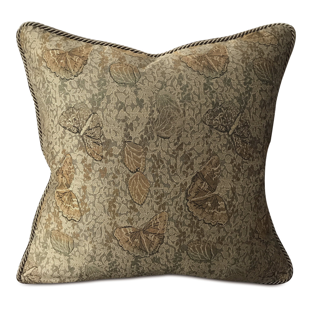 "Metallic Butterfly Gold Cord Throw Pillow Cover 20""x20"""