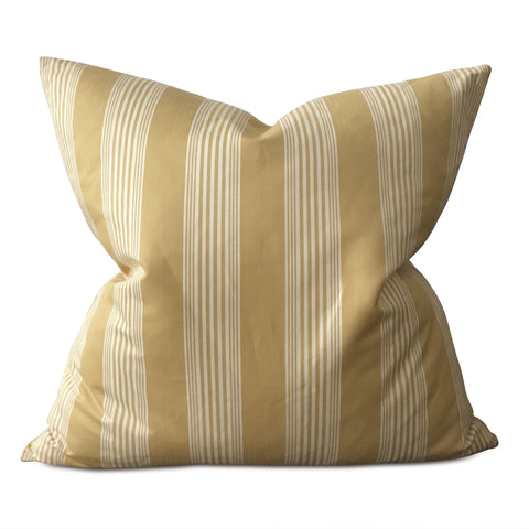 "Mustard French Country Stripe Oversize Decorative Pillow Cover 26""x26"""