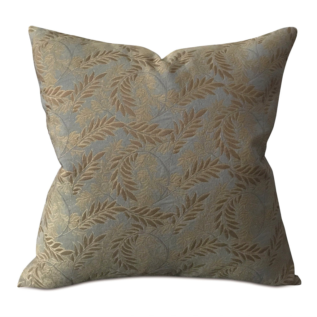 Teal and Gold Botanical Traditional Woven Decorative Pillow Cover
