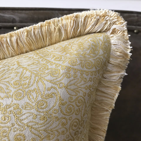Pale Yellow Paisley Brush Fringe Edge Decorative Pillow Cover