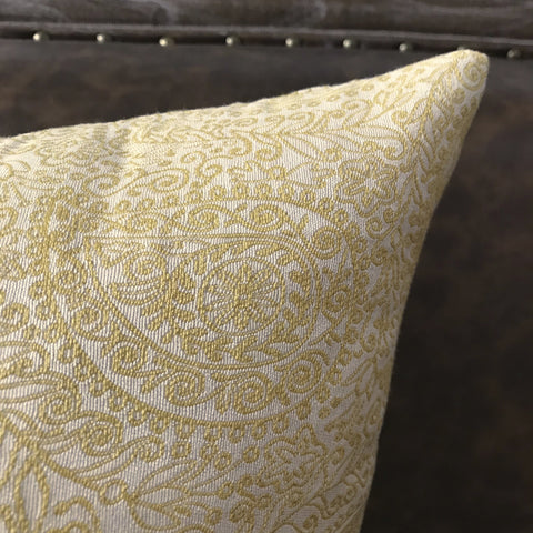 Pale Yellow Paisley Decorative Pillow Cover