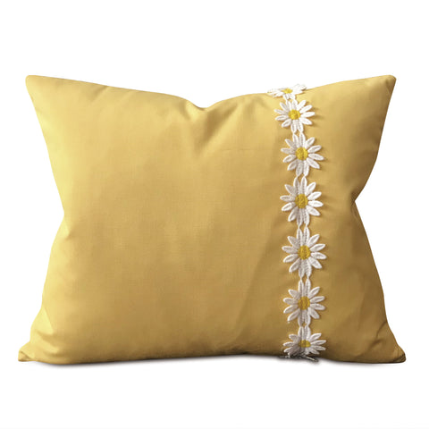 "Yellow Floral Trim Lumbar Pillow Cover for Girls 15""x18"""