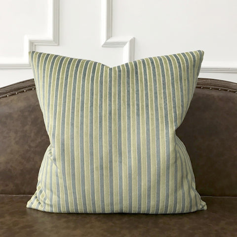 Green and Baby Blue Woven Stripe Textured Decorative Pillow Cover