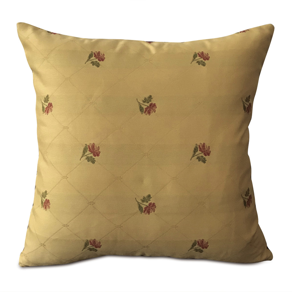 "English Woven Floral Throw Pillow Cover 20""x20"""