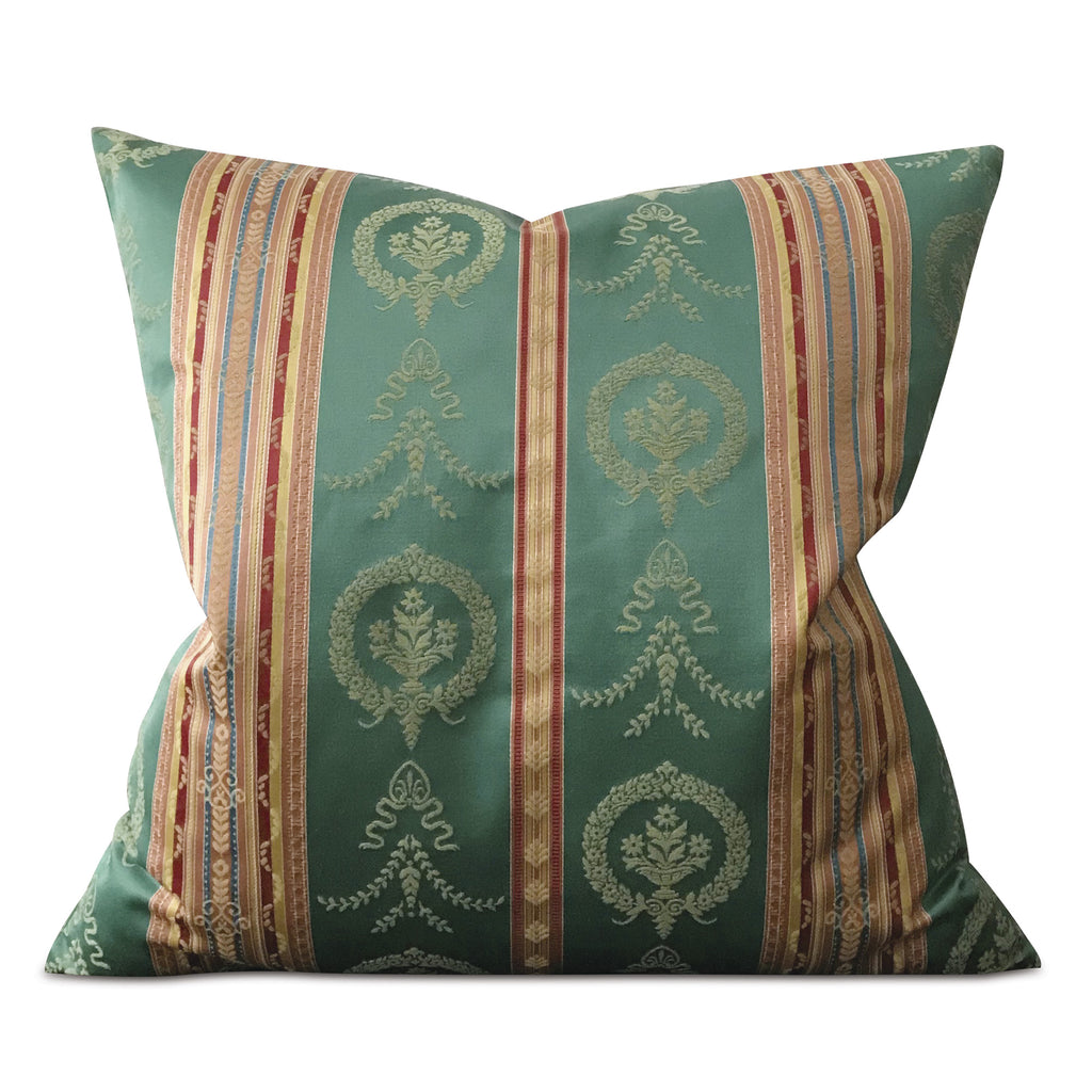 "French Royal Damask Striped Decorative Pillow Cover 24""x24"""