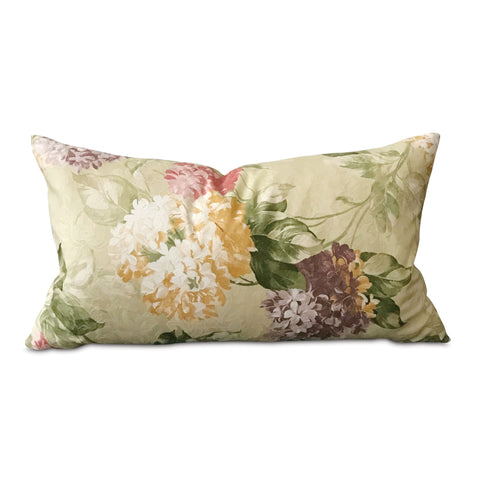 "Spring Pastel Woven English Garden Floral Lumbar Pillow Cover 15""x26"""