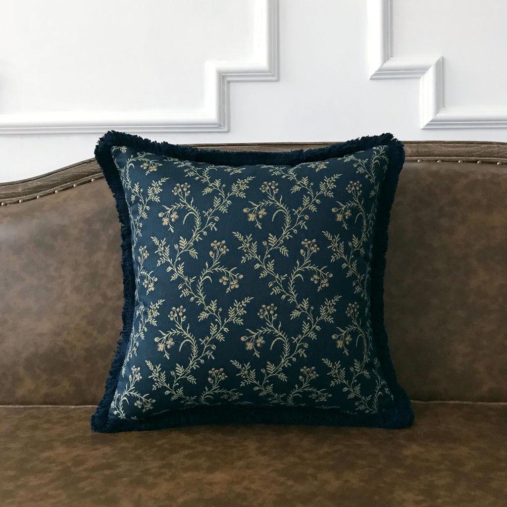 Navy Blue And Gold Botanical Throw Pillow Cover 18 X18 Plankroad Home Outlet