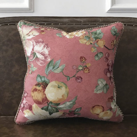 "Dusty Rose English Garden Floral Throw Pillow Cover 18""x18"""