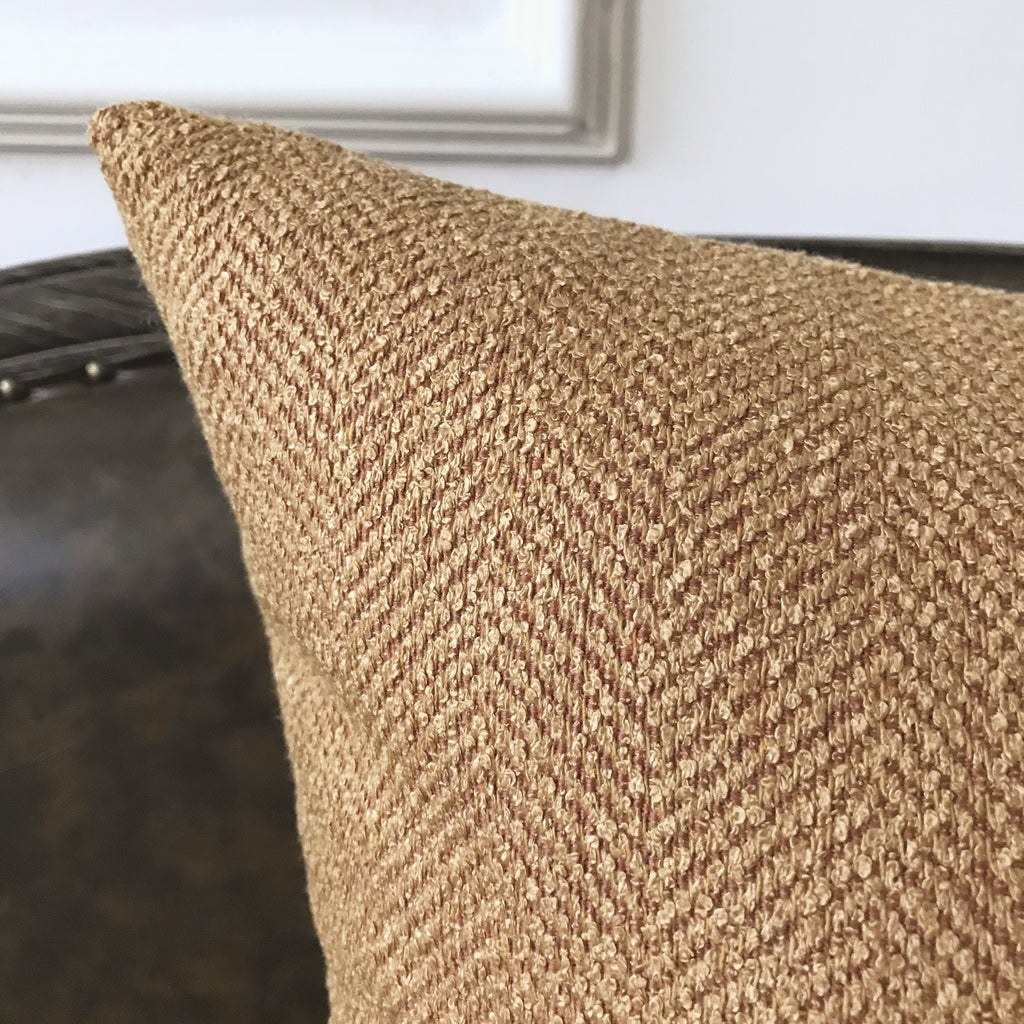 Tan Textured Herringbone Woven Decorative Pillow Cover