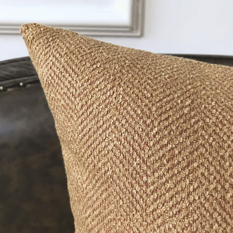 Salmon Textured Herringbone Woven Decorative Pillow Cover
