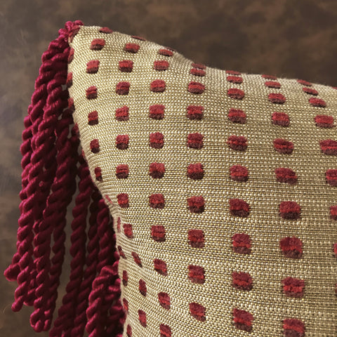 "Eclectic Boho Red and Gold Polka Dot Lumbar Pillow Cover 13""x22"""