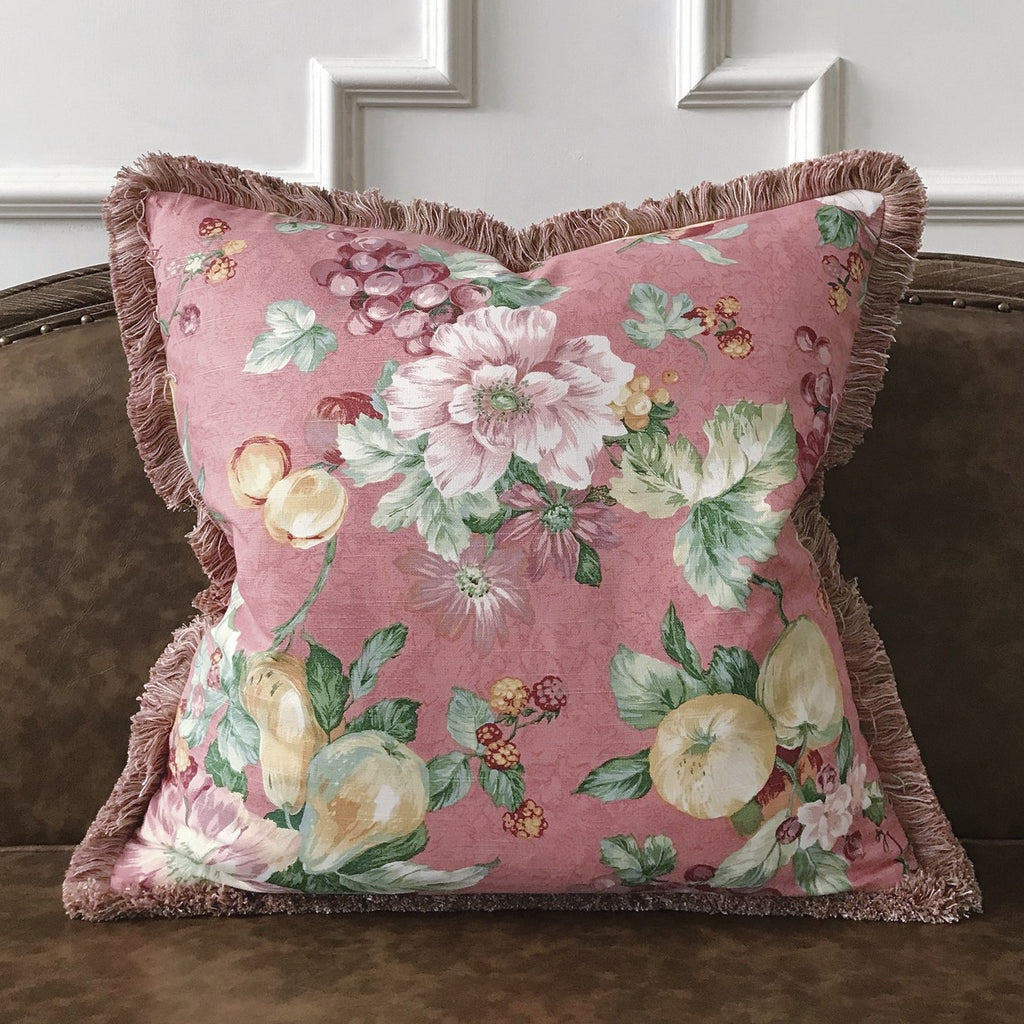 "English Country Floral Brush Fringe Throw Pillow Cover 22""x22"""