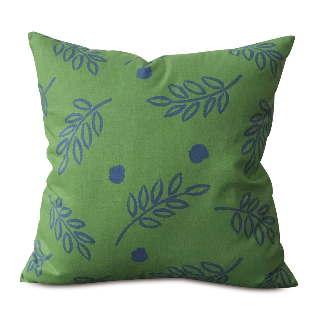 "Green and Blue Botanical Throw Pillow Cover 22""x22"""