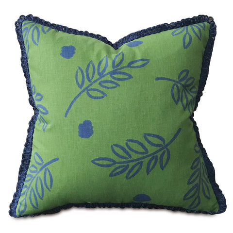 "Green and Blue Botanical Throw Pillow Cover with Brush Fringe 18""x18"""