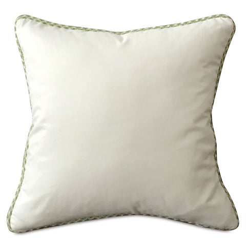"Ivory Solid Throw Pillow Cover with Green Cord 18""x18"""