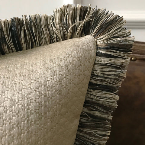 "Metallic Taupe Textured Throw Pillow Cover with Brush Fringe 20""x20"""