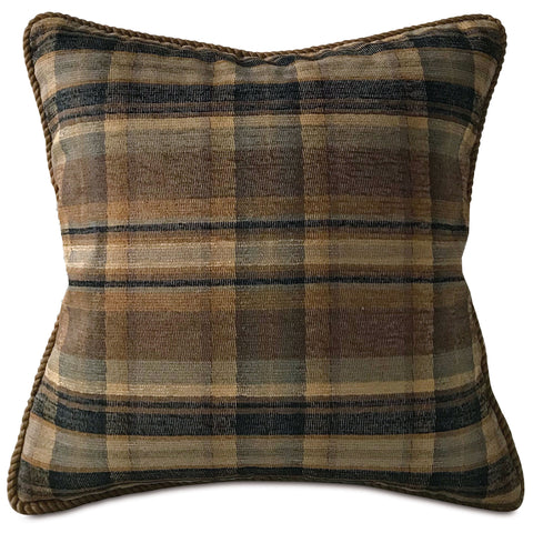 "Mountain Woven Plaid Earth Tone Throw Pillow Cover 20""x20"""