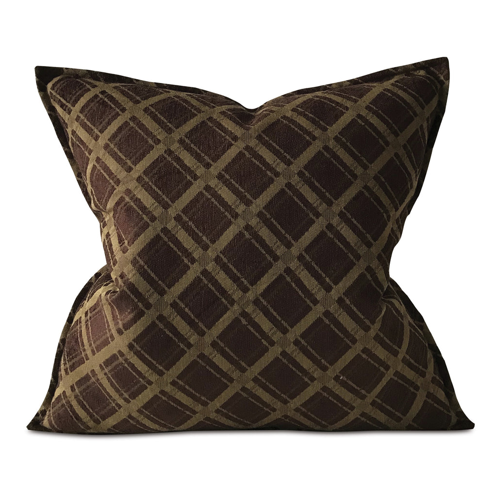 "Brown Modern Woven Check Euro Sham Cover 27""x27"""
