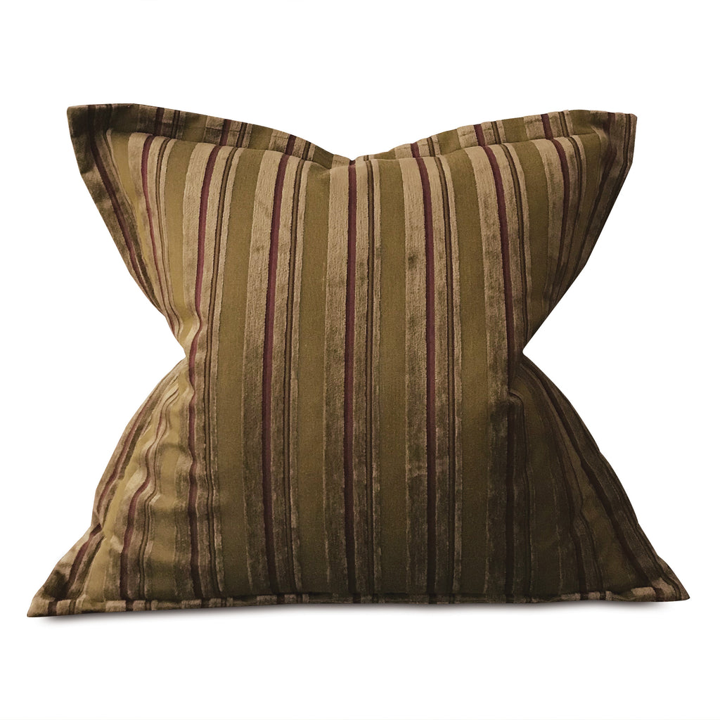"Earth Tone Velvet Textured Woven Striped Oversized Decorative Pillow Cover 26""x26"""