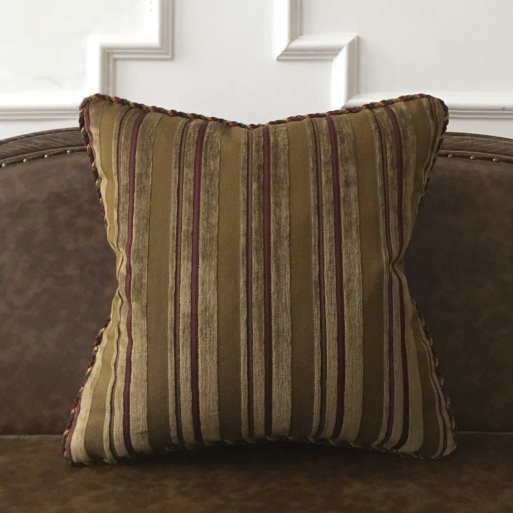 "Earth Tone Textured Striped Throw Pillow Cover 20""x20"""
