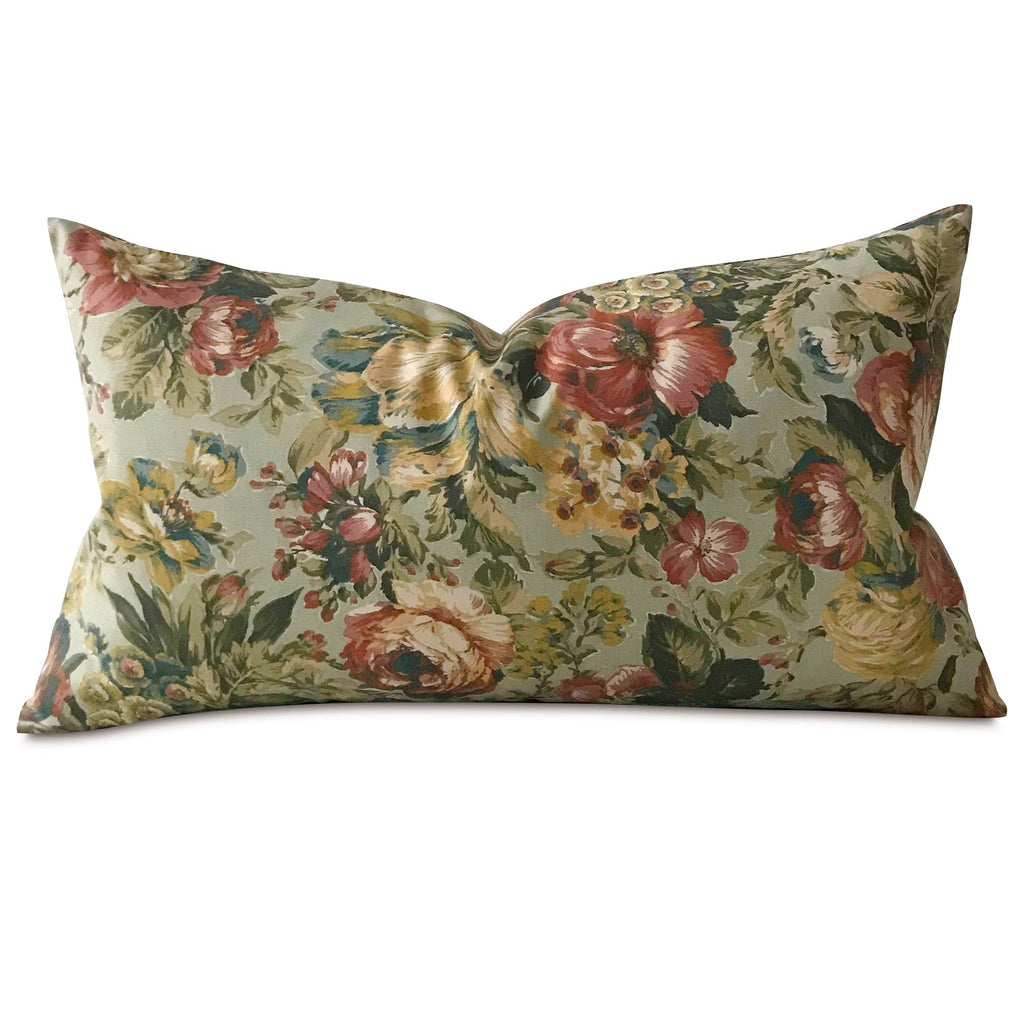 "Victorian Summer Floral Lumbar Pillow Cover 15""x26"""