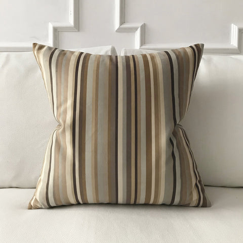 Modern Neutral Woven Striped Decorative Pillow Cover