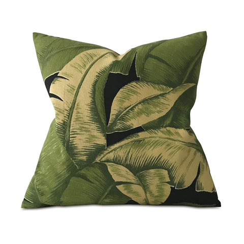 "Hollywood Palm Leaf Tropical Throw Pillow Cover 24""x24"""